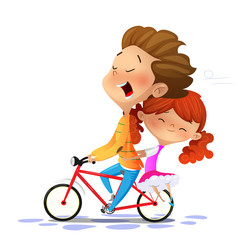 Boy with girl riding a bike