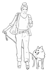 City girl walking dog