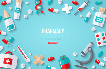 Pharmacy Banner With Flat Icon