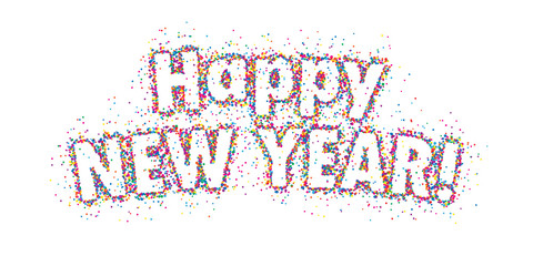 HAPPY NEW YEAR! colorful dots banner