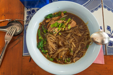 Northern Thai khao soi with the traditional noodles
