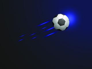 Flying soccer ball on blue background.Vector illustration