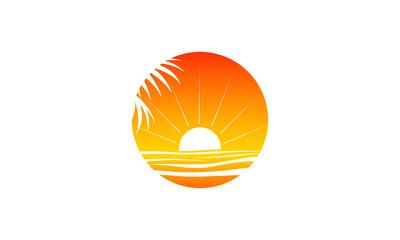 a warm tranquil sunset logo on a beach