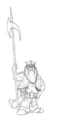 Black and white ink artistic rough hand drawing of fantasy dwarf holding big halberd or axe.