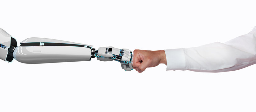 Businessman Robot Fist Bump