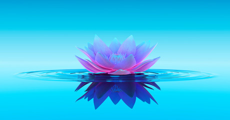 Water Lily Abstract Fantasy Background. 3D illustration