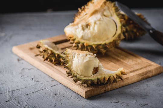 Durian exotic fruit from Asia on concrete table