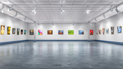 Interior of the gallery. 3d illustration