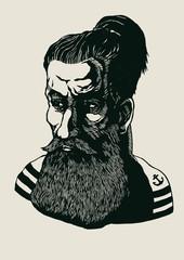 Sailor, old salt, fisherman. hand drawn design element. engraving style. vector illustration