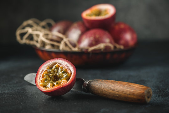 Passion fruit or maracuja  from exotic tropical countries on table
