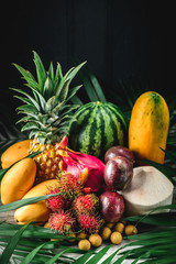 Set of exotic fruits. Assorted tropical fruits of pineapple, rambutan, passion fruit, mango, dragon fruit, longan, coconut, watermelon