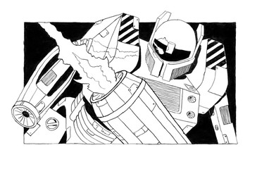 Black and white rough ink sketch of dangerous armed and armored robot or robotic soldier with weapons and guns as arms.