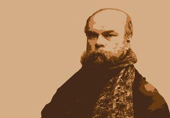 Portrait de Paul Verlaine, célèbre écrivain et poète français du 19ème siècle