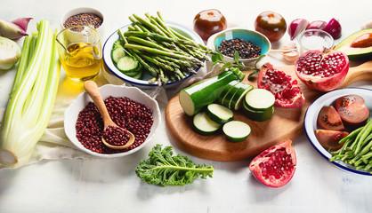 Seasonal vegetarian, vegan cooking ingredients