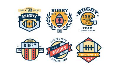 Rugby league logo design set, vintage college team, sport club emblem or badge vector Illustration