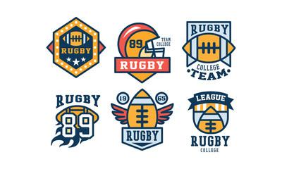 Rugby team logo design set, vintage college league, sport club emblem or badge vector Illustration