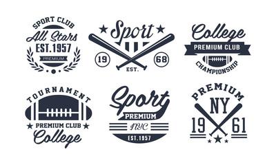 Sport premium club logo design set, vintage premium championship, tournament emblem or badge vector Illustration
