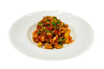 salmon,prawns Tagliatele noodles Italian food,Seafood