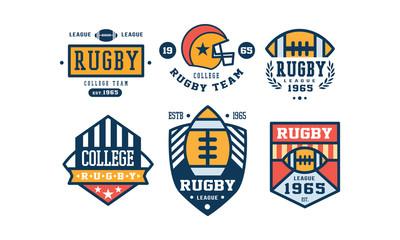 Rugby college team logo design set, vintage sport club emblem or badge vector Illustration