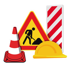 Baustellenabsperrung, Verkehrswarnung Warnschilder