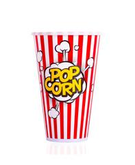 Popcorn in red bucket on white background