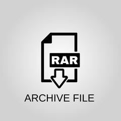 Archive file icon. RAR file concept symbol design. Stock - Vector illustration can be used for web.