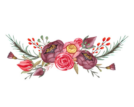 Watercolor floral bouquet. Composition with flowers isolated on withe background. Template for wedding invitation,greeting card, typography prints.