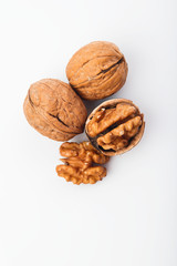 Food:  Top View of Walnut Isolated on White Background Shot in Studio