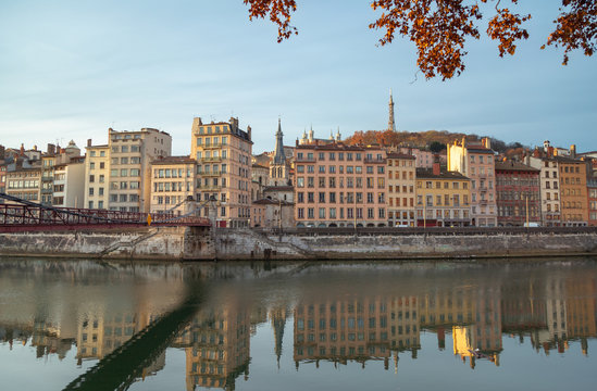 Autumn sunrise over the Saone river and Vieux Lyon in Lyon city, France.