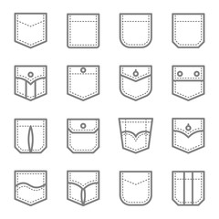 Patch Pocket Style Vector Line Icon Set. Contains such Icons as Original Pocket, Denim, Traditional, Flap and more. Expanded Stroke