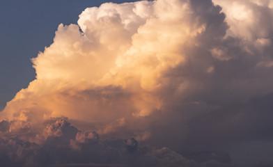 close up soft focus dramatic twilight sunset fluffy cloud on blue sky
