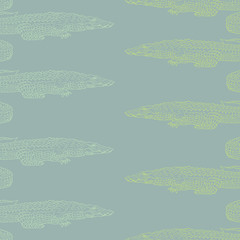 Vector seamless pattern with Nile crocodile for textile, fabric, fashion clothes. Animal illustration isolated on background