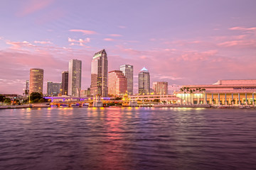 Downtown Tampa Skyline at Sunset