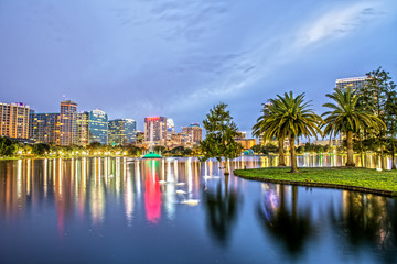 Downtown Orlando from Lake Eola Park at Night