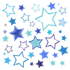 Christmas blue stars. Embroidery starry pattern. Vector illustration.