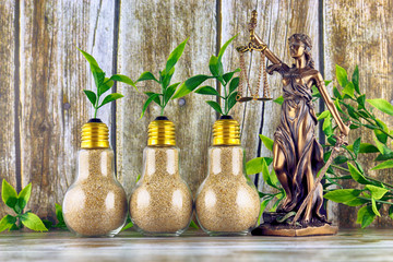 Symbol of law and justice and plants growing inside the light bulbs. Green eco renewable energy concept. Regulations, restrictions, prohibition.