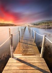 Old pier submerged, Ancient bridge submerged