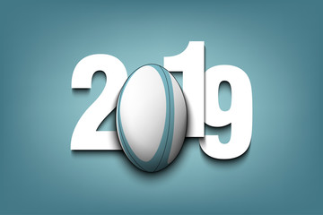 New Year numbers 2019 and rugby ball