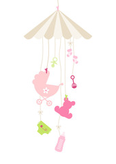 Mobilé Hanging Baby Symbols Girl