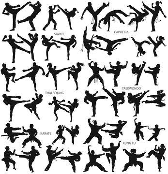 Martial art man woman children karate savate capoeira thai boxing taekwondo kung fu vector silhouette collection