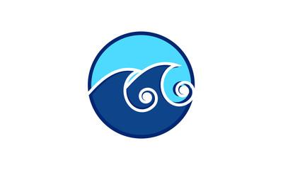 a round blue wave logo