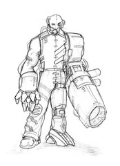Black and white rough pencil sketch of dangerous cyborg soldier or warrior. Man with robotic body parts and heavy gun replacing his arm and hand.