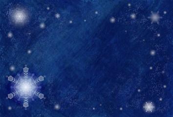 雪の結晶と雪が美しい青いフレームのグラフィック