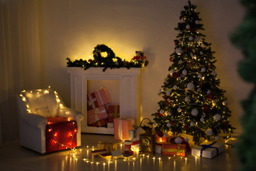 Christmas tree with presents, Garland lights new year winter holiday