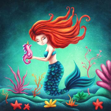 Illustration of a cute mermaid