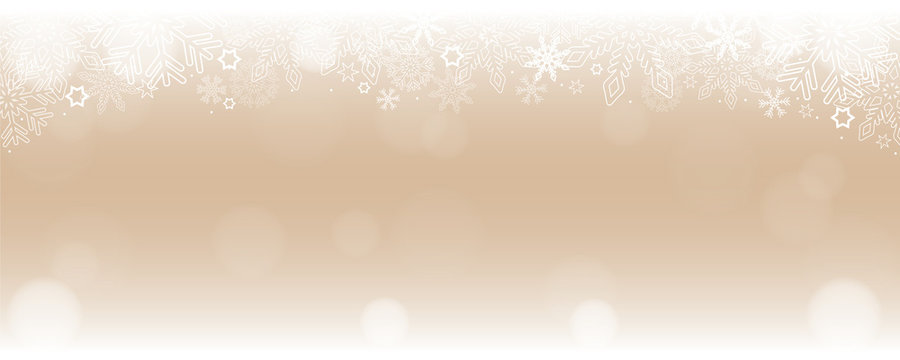 bright snowy winter background border with snowflakes and stars vector illustration EPS10