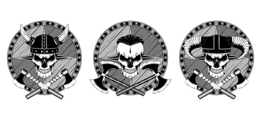 Set of vector images on a white background. Skulls in helmets with axes and shields.
