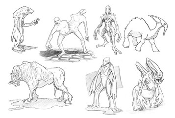 Set of black and white pencil or ink drawings of various fantasy and sci-fi monsters and creatures.