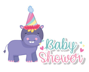 hippopotamus with party hat in the baby shower celebration