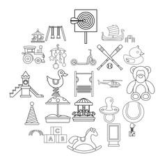 Rest of child icons set. Outline set of 25 rest of child vector icons for web isolated on white background